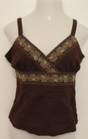 Trendy Brown V-Neck Tank Top with Fancy Embroidered Print - Crazy Horse (Large)