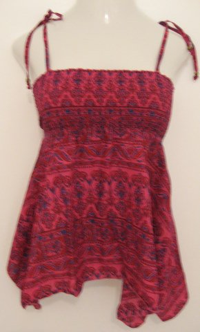 Purple & Blue Trendy Print Spaghetti Strap Top with Beaded Accents - Small