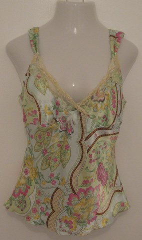 Sexy Silky Green Floral Print Tank Top with Beaded & Lace Accents - Eyeshadow (Extra Large)