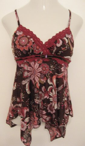 Sexy Purple, Pink & White Floral Spaghetti Strap Top with Sequence Accents - Self Esteem (Medium)