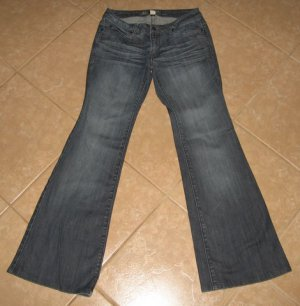 "Light Denim Blue 5 Pocket Flare Jeans with Crease Details - Kenneth Cole (Size 4, 26"" Waist)"