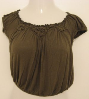 Trendy Dark Green Short Sleeve Top with Floral Accents at Bust - Julie's Closet (Medum)