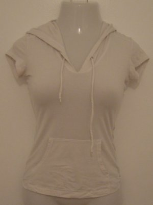 White Hooded Short Sleeve Excercise Top with Pocket & Silver Fancy Print - BeBe Sport (Small)