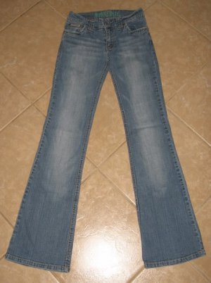 Light Blue Denim 5 Pocket Flare Jeans with Crease Details - Hydraulic (Size 3/4)