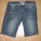 Light Denim Blue Destroyed Long 5 Pocket Shorts with Cutt Off Look - Wurl (Size 3)