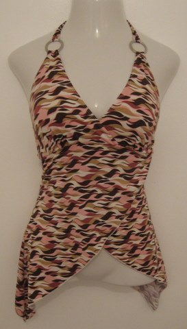 Sexy Pink, White & Brown Swirl Print Halter Top with Silver O Rings - Los Angeles Express (Small)