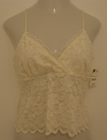 Sexy Ivory Lace Layered Spaghetti Strap Career Top - Worthington (Large) New With Tags