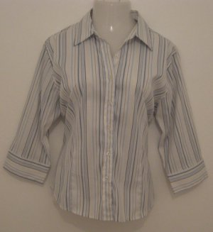 Trendy Light Blue, Silver & White Striped Button Down Silky Half Sleeve Career Top - Fluid (XXL)