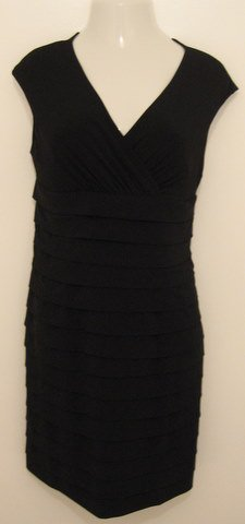 Sexy Black Sleeveless Cocktail Dress with Layered Look - American Living Dress Estae MMVIL (Size 14)