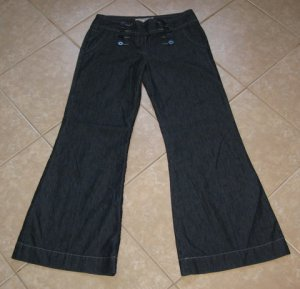 Trendy Dark Denim Blue Designer Super Flare Jeans - American Rag Cie (Size 9)