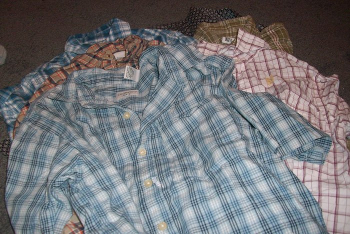 6 Boy's Plaid Shirts Size M