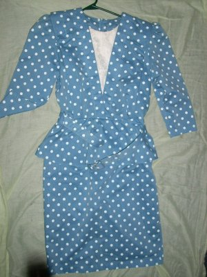 Women's Blue w/white polka dot Dress size 8