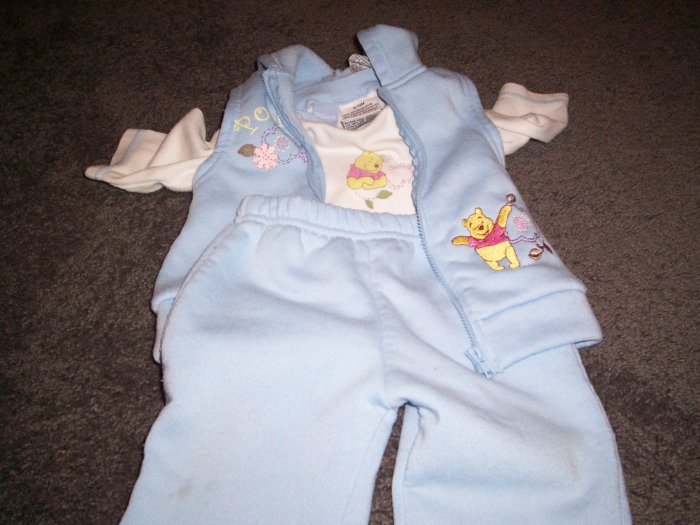 Disney Pooh 6/9 month 3 piece set