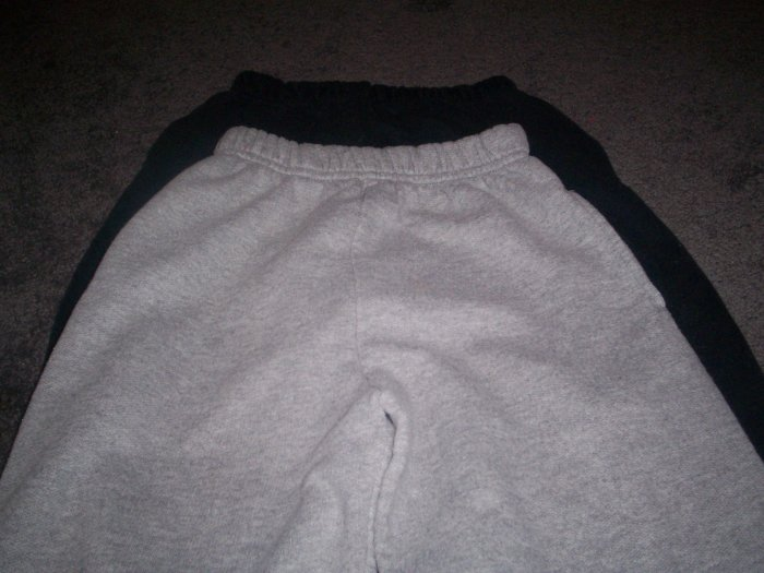 Three Pairs of Boys Jerzees Sweats Size L 12/14 Black, Dark Grey,  and Gray