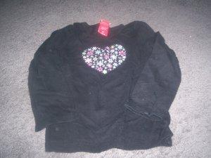 Girl's 3T Long Sleeve Heart Top Black