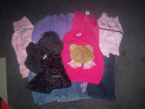 Girl's Size 4T Lot 6 Shirts and 4 Pairs of Jeans