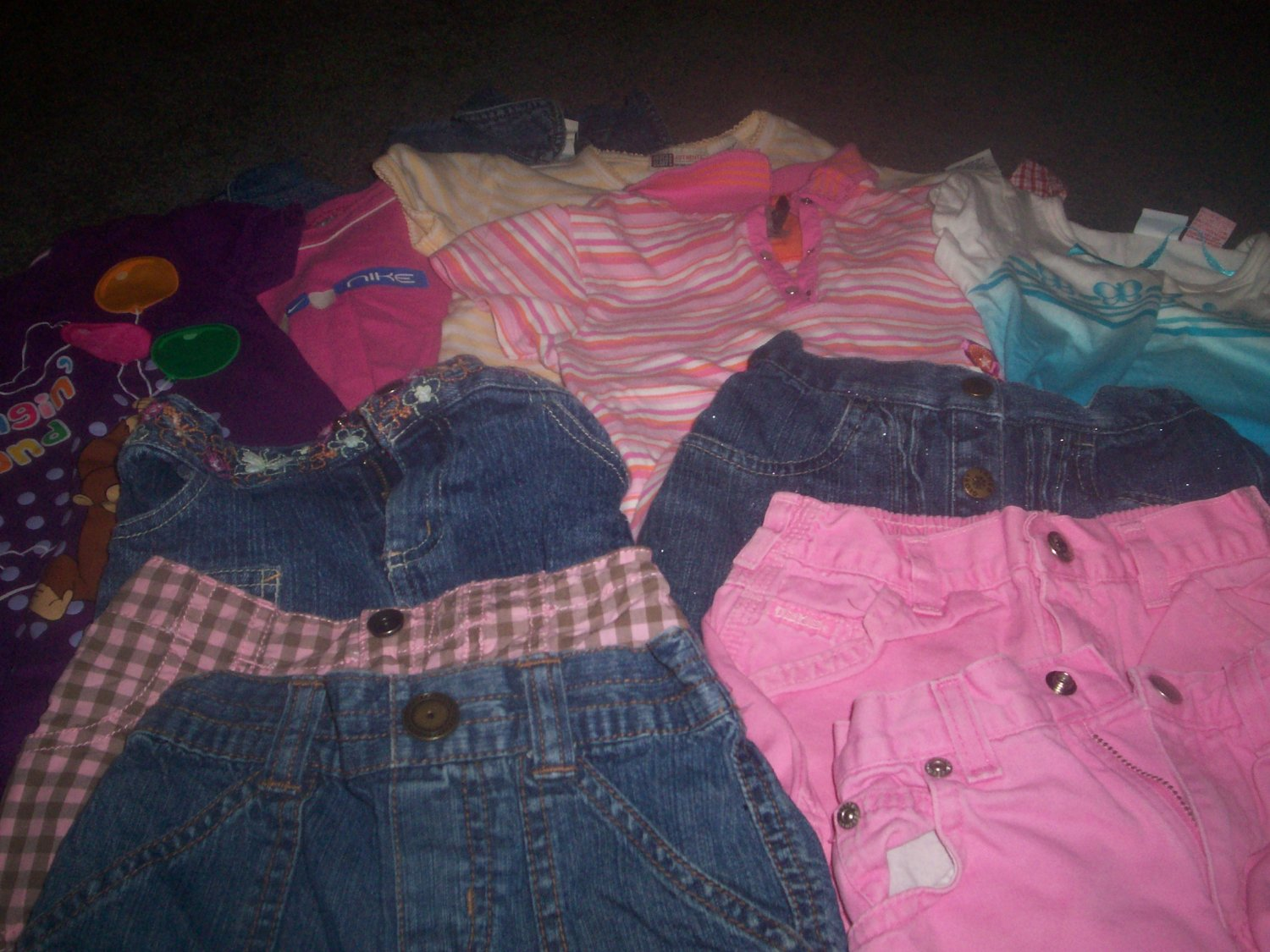 Girl's Size 4T Summer Lot of 5 Shirts and 6 Pairs of Shorts and 2 Dresses