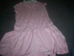 Girl's Size 4T Short Sleeve Collar Teeshirt Dress Pink