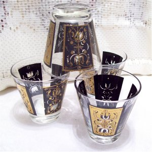 Vintage Black n Gold Hi Ball Drink Bar Glasses Set of 4
