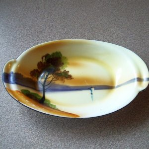 Noritake Handpainted Small Oval Pin or Relish Dish Sailboat