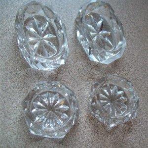 Cut Glass Clear Salt Cellars Squatty Honeycomb #2705