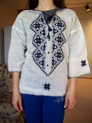 60's Vintage Ladies Embroidered Peasant Tunic Top