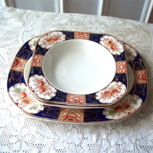 Wood and Sons Royal Castle Oval Platter and Rimmed Cereal Soup Bowls