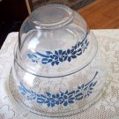 Pyrex Corning Clear Glass Mixing Bowls Blue flowers