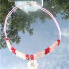 Rose Quartz Red Glass and pink seed bead Necklace  #1021