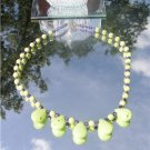 "16"" Gaspeite Green Turquoise and Purple Pearl Necklace  #1024"