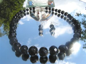Black Faceted Crystal with Hand Faceted Rondell Necklace  #Blkfctdrnd-hndcrys1