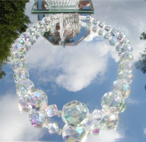 Huge Faceted Clear Crystal Bead Necklace Sterling #0013