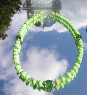 Gaspeite Green Turquoise Hand Faceted Crystal Necklace #0014