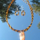Agate Horn Pendant w/orange black bead Necklace set #0030a