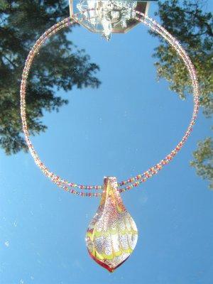 Handblown Glass Leaf And Glass seed Beeds #mg004
