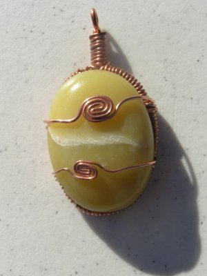 Jade Copper Wire Wrapped Cab Pendant  #60x30mm1995-1