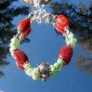 Pewter Turtle Coral Lime Green Dancing Pearls Bracelet