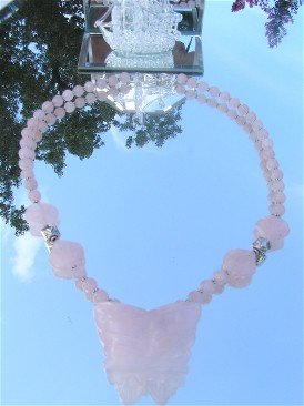 Bold Beautiful Rose Quartz Carved Butterfly Necklace Sterling