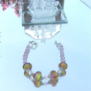 Purple Lampwork Crystal Bead Pewter Bracelet  #0011