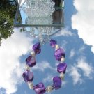 Purple Mother Of Pearl Nugget Wh FW Pearl Bracelet  #0006