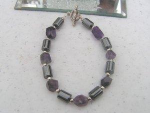 Magnetic Hematite Amethyst Bracelet   healing #1a