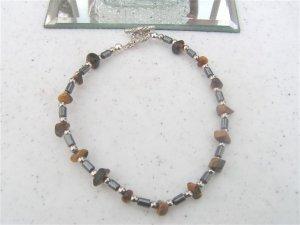Hematite Tigereye Chips Bracelet  #1a