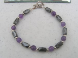 Magnetic Hematite Amethyst Round Beads Bracelet  #2a
