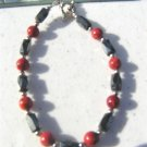Faceted Magnetic Hematite Red Coral Round Bracelet  #08