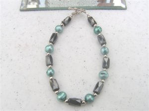 Faceted Magnetic Hematite Teal FW Pearls Bracelet #1a