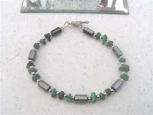Faceted Magnetic Hematite Malachite Chips Bracelet  #1a