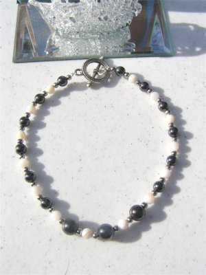 Magnetic Hematite Mother Of Pearl Anklet  #ank13