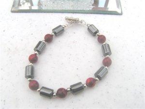Magnetic Hematite Burgandy FW Pearls Bracelet