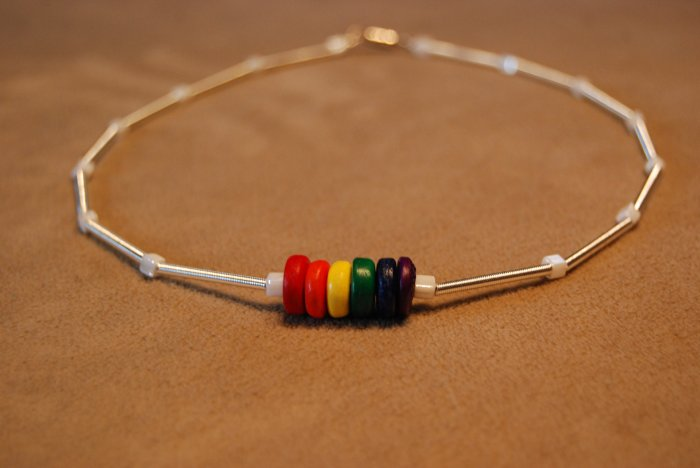 Rainbow and Silver Coil Choker