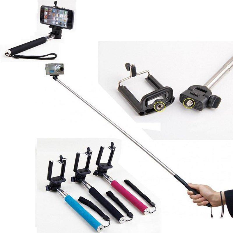 Black - Extendable Selfie stick Monopod for iPhone, Samsung, Camera